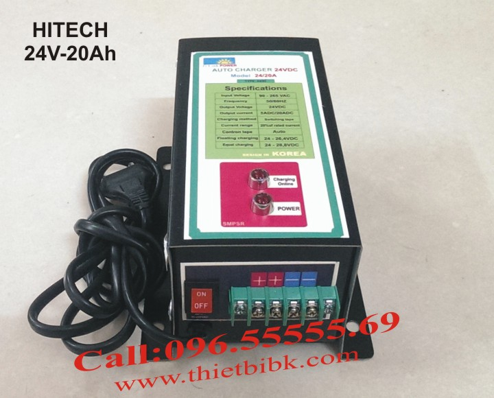 Bộ sạc ắc quy tự động Hitech Power 24V-20Ah sạc ắc quy nguồn dự phòng trạm BTS