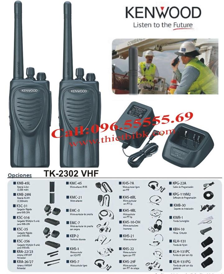 Máy bộ đàm KENWOOD TK-2302-VHF và phụ kiện