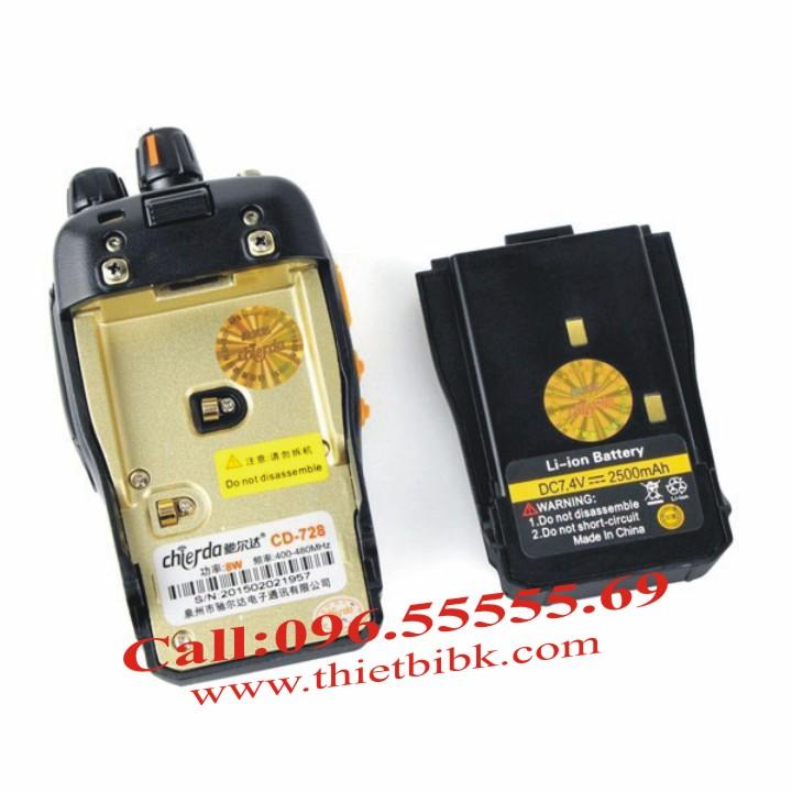 Máy bộ đàm chống nước Chierda CD-728 8W dùng pin dung lượng 2500mAh