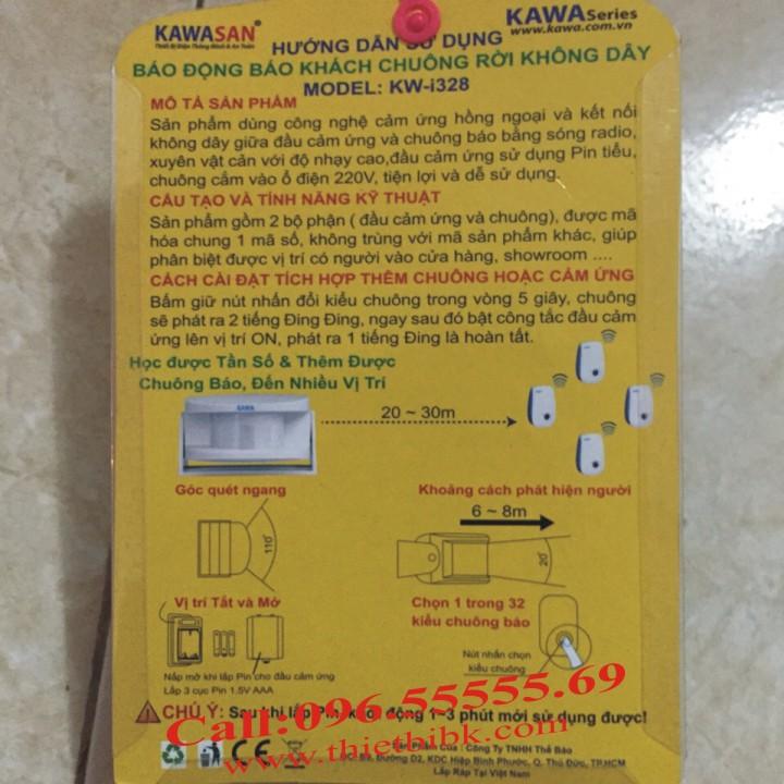 Chuông báo khách cảm ứng hồng ngoại Kawa I328 dùng cho siêu thị