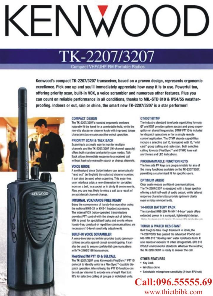 Máy bộ đàm KENWOOD TK-3207 UHF có nhiều tính năng, thuận tiện cho việc sử dụng