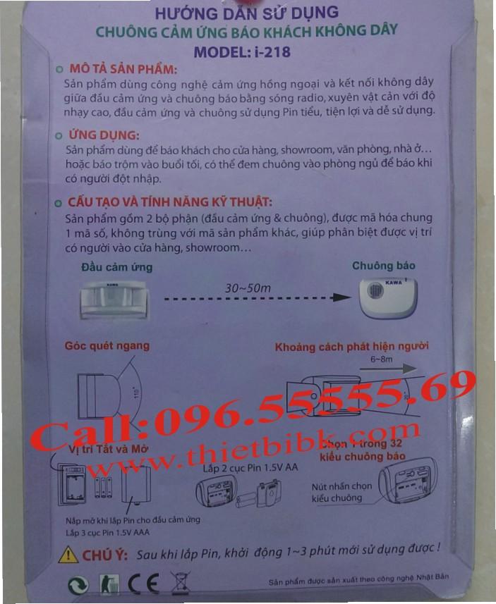 Hướng dẫn sử dụng chuông báo khách cảm ứng Kawa I218