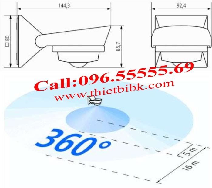 Góc quét và kích thước của Theben Luxa 101-360