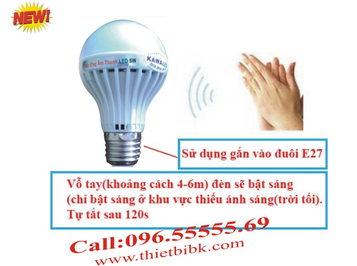 Đèn led cảm ứng âm thanh Kawa SB05 5W Bật đèn khi có tiếng bước chân, giọng nói, tiếng vỗ tay..