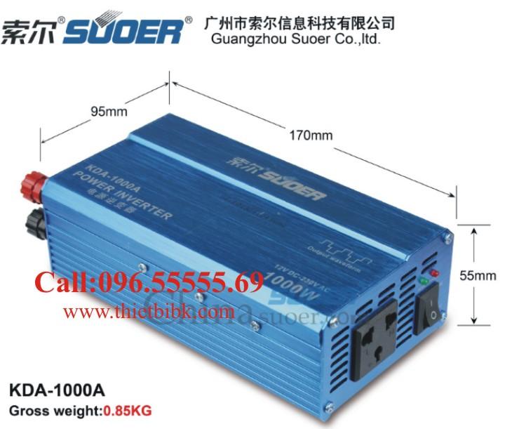 Máy đổi điện không sạc SUOER KDA 1000W có kích thước nhỏ gọn