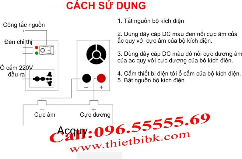 Cách lắp đặt của máy đổi điện không sạc SUOER SDA-500: