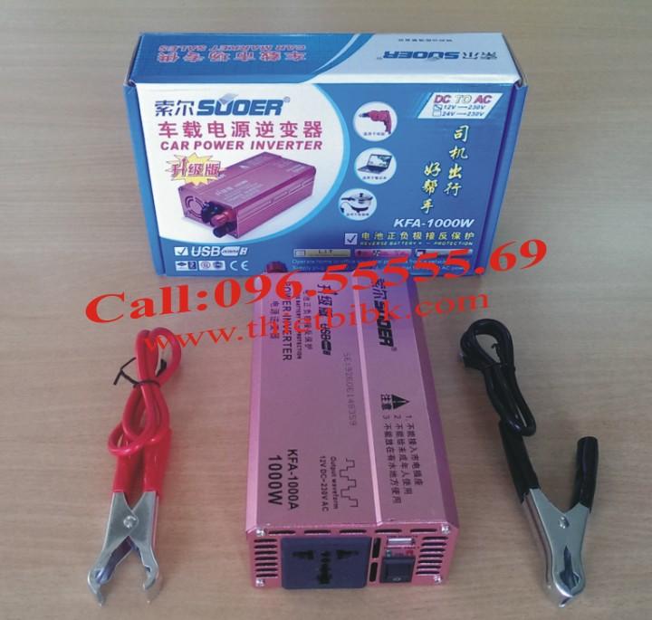 Máy kích điện SUOER KFA 1000W Power inverter thiết kế cổng USB 5V 1A