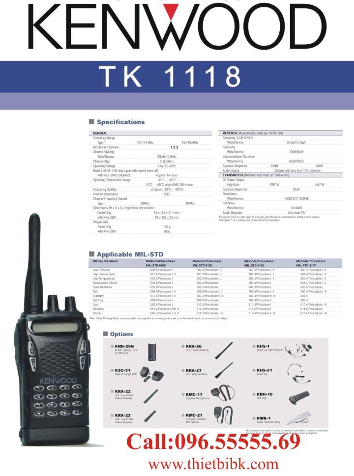 Bộ đàm KENWOOD TK-1118 dùng cho khu công nghiệp, kho bãi, cảng biển