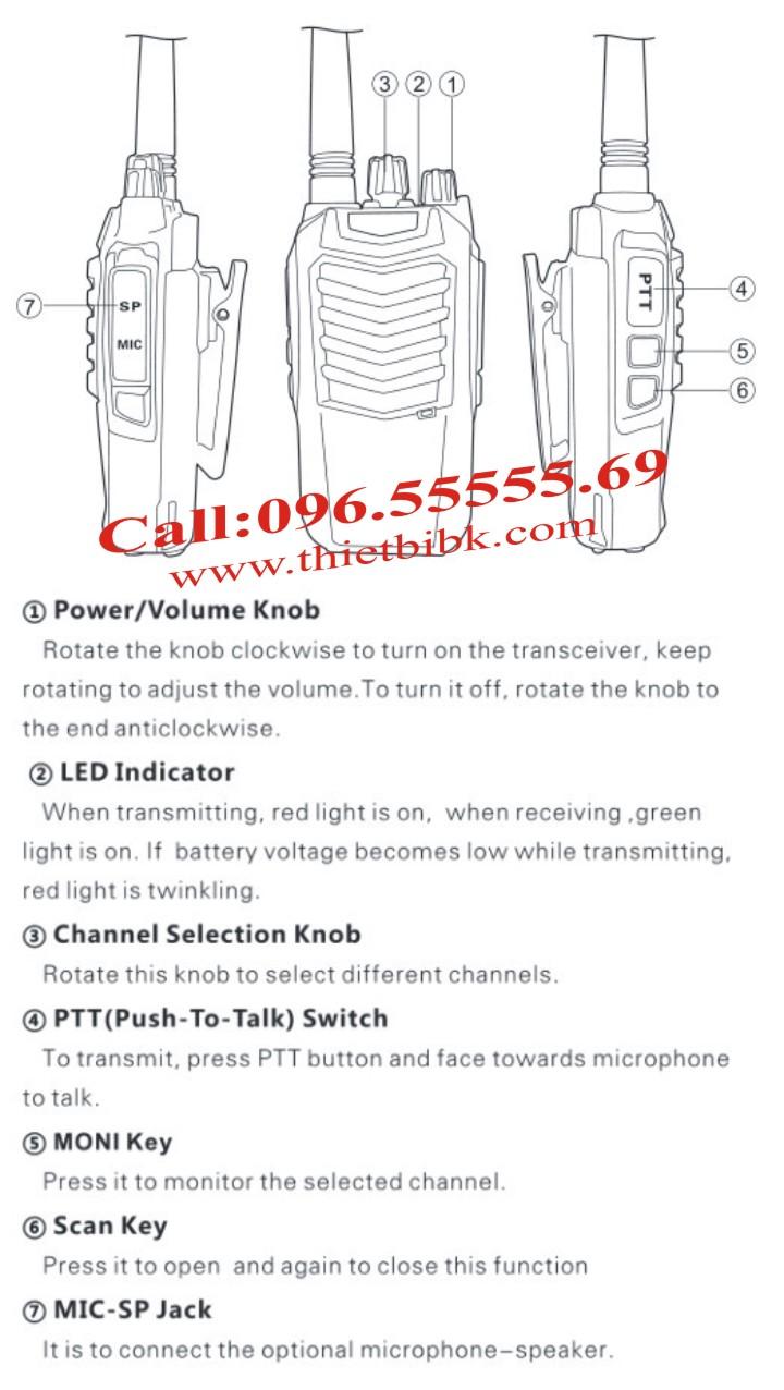 Hướng dẫn sử dụng Bộ đàm SUNWAY SW-K16 High Power 8W