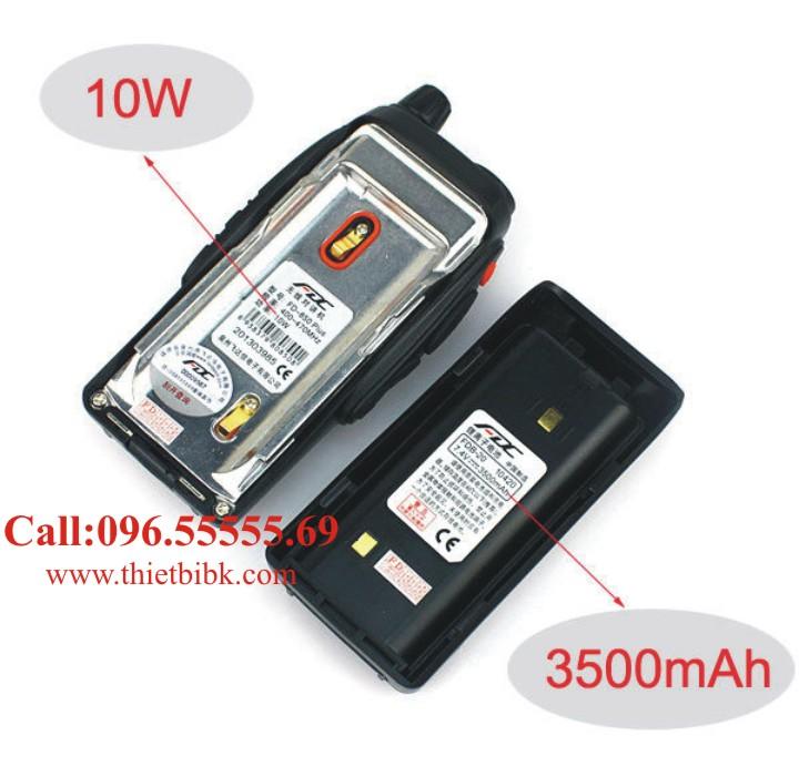 Bộ đàm cầm tay FEIDAXIN FD-850Plus – 10W có công suất 10W và pin 3500mAh