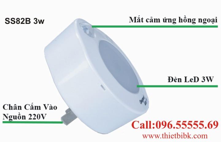 Đèn Led cảm ứng chuyển động phích cắm Kawa SS82B 3w cắm trực tiếp ổ điện 220V