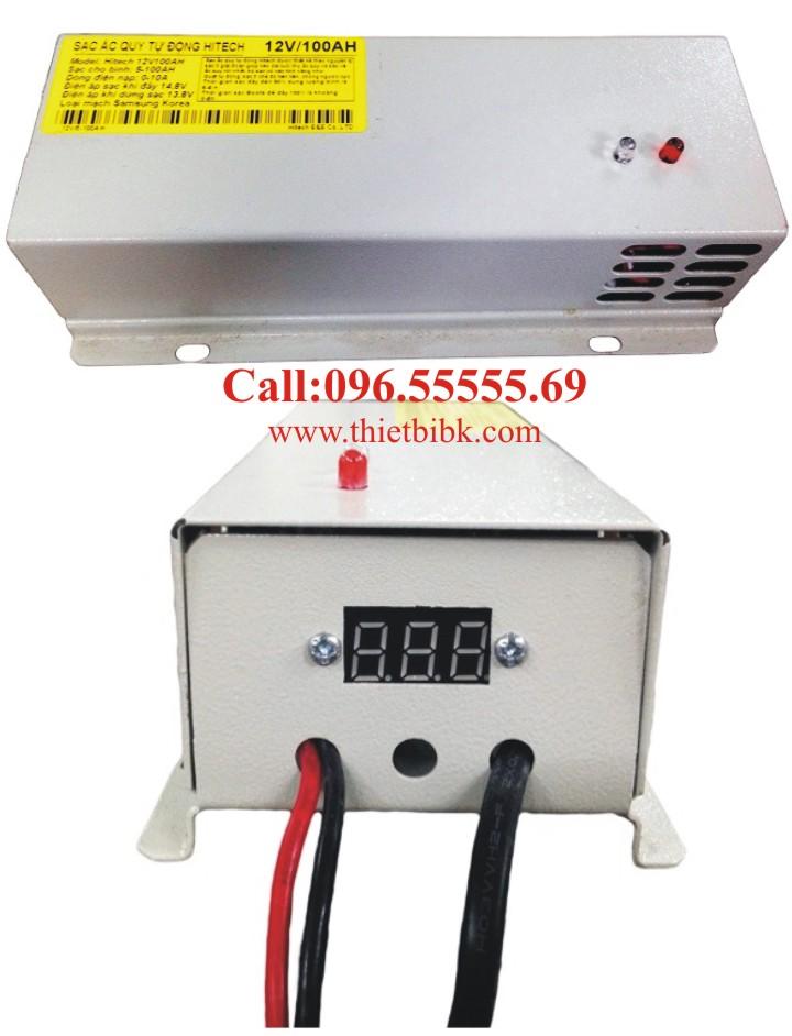Bộ Sạc ắc quy tự động HITECH POWER V 12V-100Ah có màn hình hiển thị điện áp