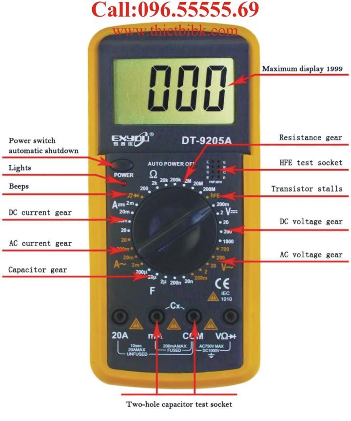 Đồng hồ vạn năng điện tử Exyou DT-9205A đo được nhiều tham số