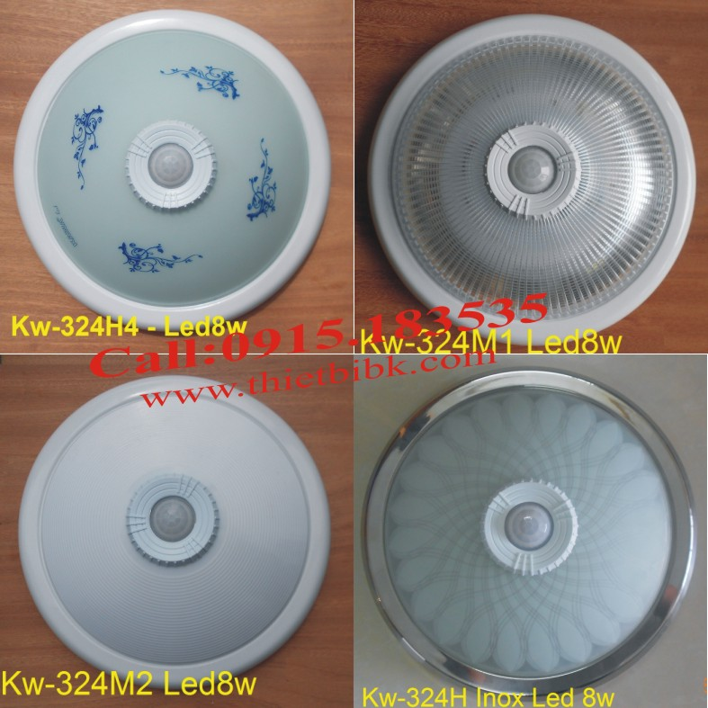 Đèn cảm ứng ốp trần Kawa KW-324 với nhiều dạng chao đèn khác nhau, phù hợp với sở thích của khách hàng