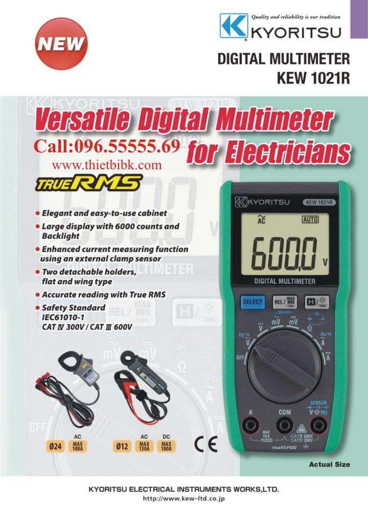 Đồng hồ vạn năng hiển thị số Kyoritsu 1021R 6000V 10A dùng cho kỹ thuật viên điện điện tử