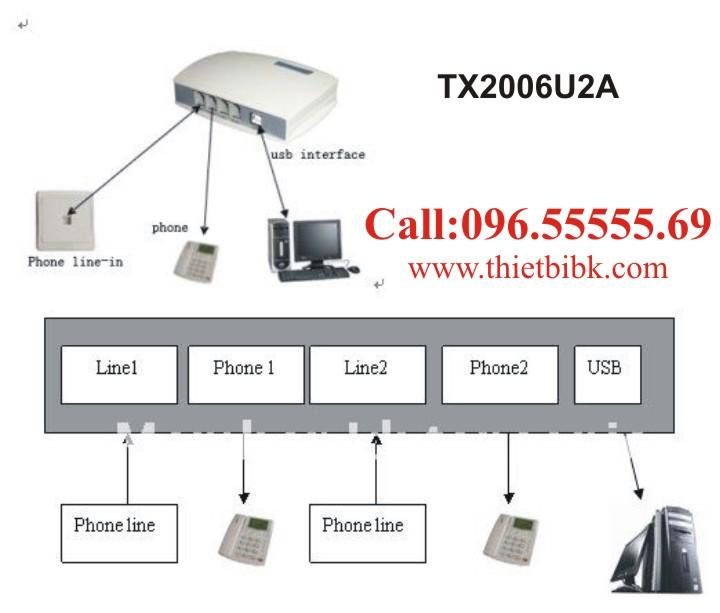 Box-ghi-am-dien-thoai-2-line-Tansonic-TX2006U2A-ket-noi-may-tinh-qua-cong-USB 3
