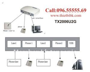 Box-ghi-am-dien-thoai-2-line-Tansonic-TX2006U2G-ket-noi-may-tinh-qua-cong-USB 2